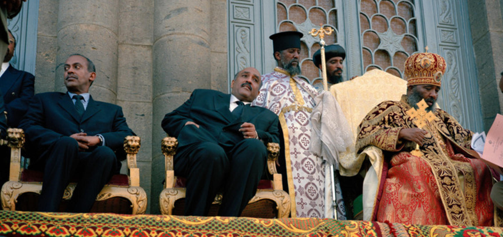 Descendants of the Emperor on the steps of Trinity Cathedral. Addis Ababa, Ethiopia. Photograph by Peter Marlow. 2000.