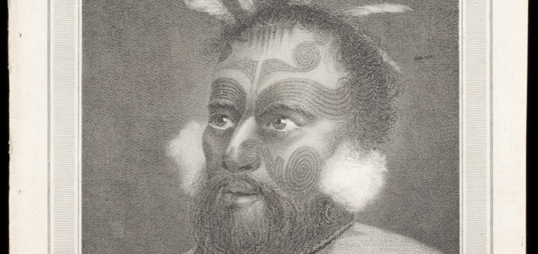 Māori chief Tuanui, engraved for publication by John-Baptiste Michel after an original drawing by William Hodges.