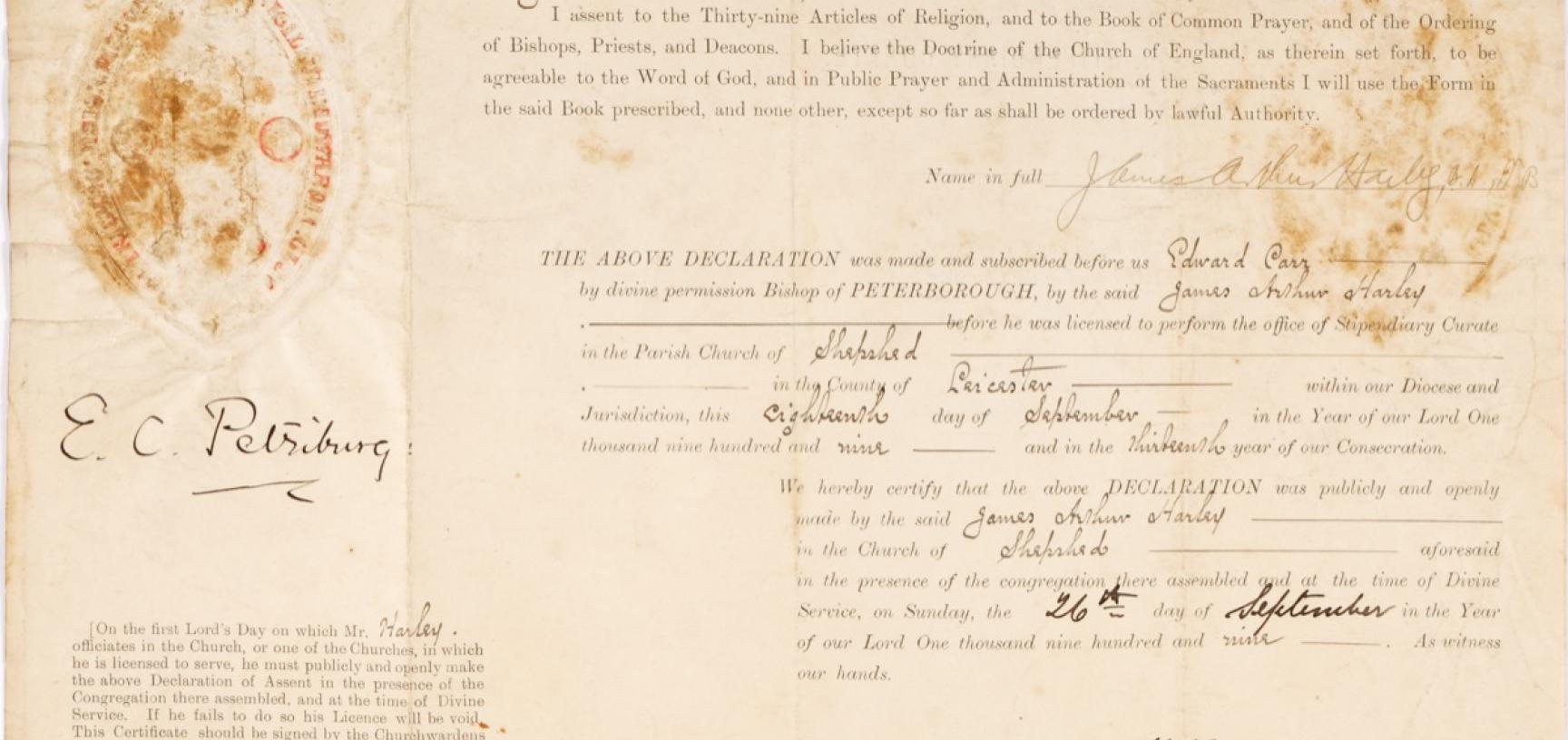 Document confirming Harley's declaration of assent to the Thirty-Nine Articles of Religion, 26 September 1909, at the time of his accepting the position of Stipendiary Curate in the Parish Church of St Botolph, in Shepshed, Leicestershire. (Courtesy Micha