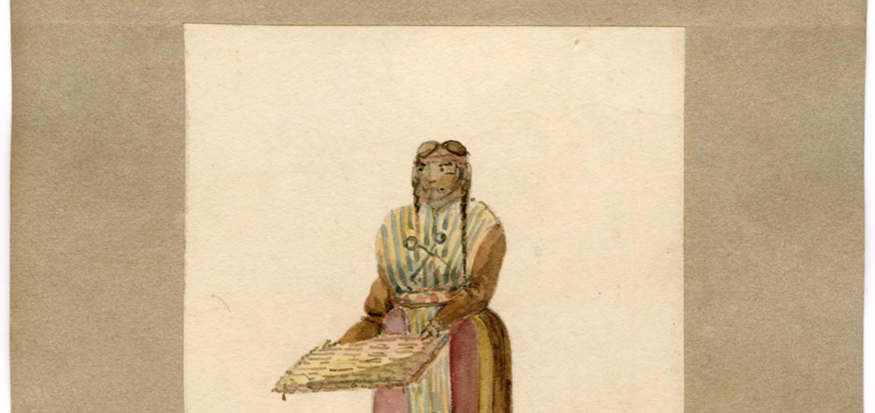 A tortilla-seller, one of a series of Peruvian types from the market in Lima. Carter probably visited Lima when the Seringapatam was anchored in Callao Roads in July 1830, August 1831, and January/February 1832.