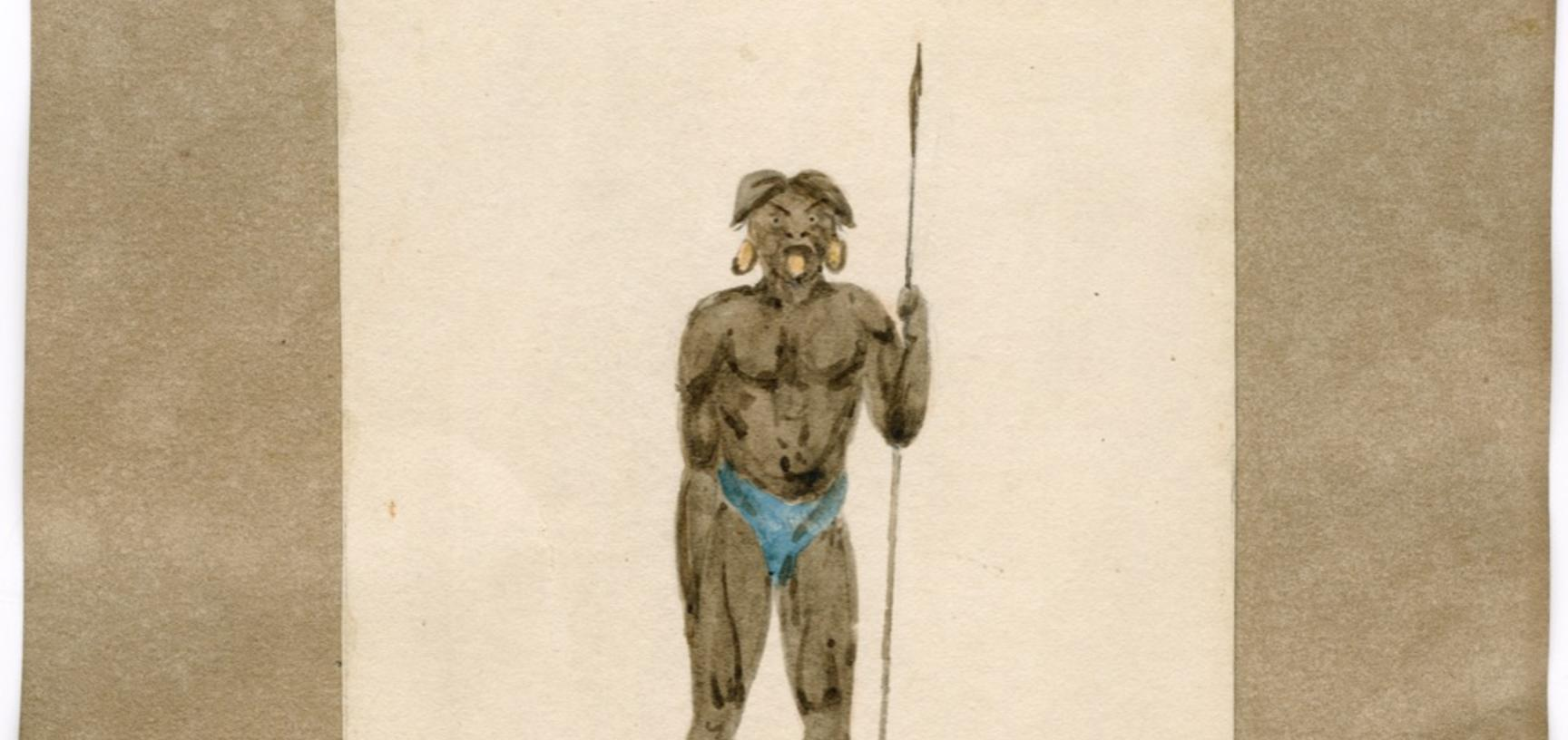 A 'Botucundan' Indian of Peru. It is unlikely that Carter saw such Indians, so this portrait is likely to have been copied from another artist's work.