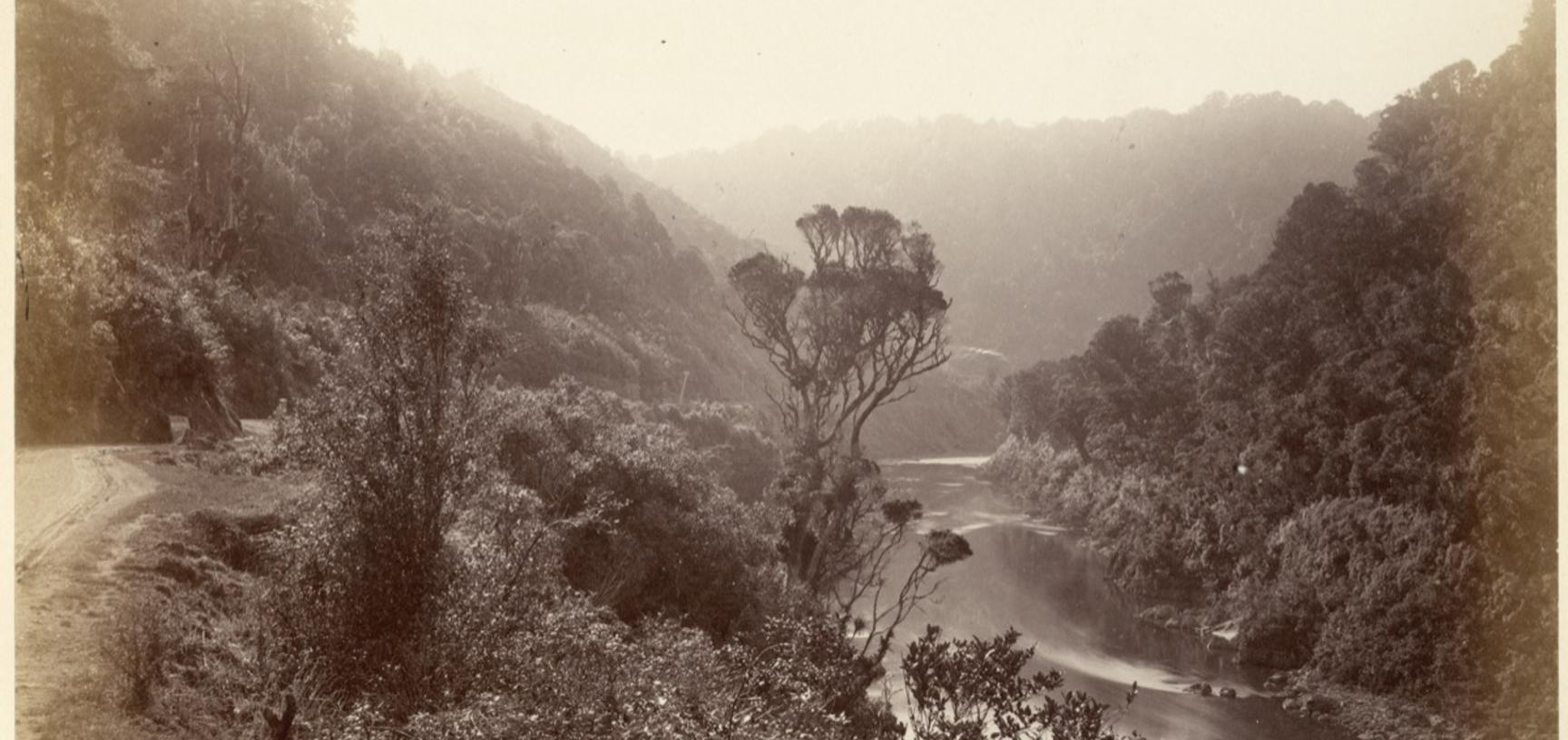 View of the Manawatu Gorge. Photograph by Alfred Burton for the Burton Brothers studio (Dunedin). Manawatu River, North Island, New Zealand. Circa 1885. (Copyright Pitt Rivers Museum, University of Oxford. Accession Number: 1998.245.178)