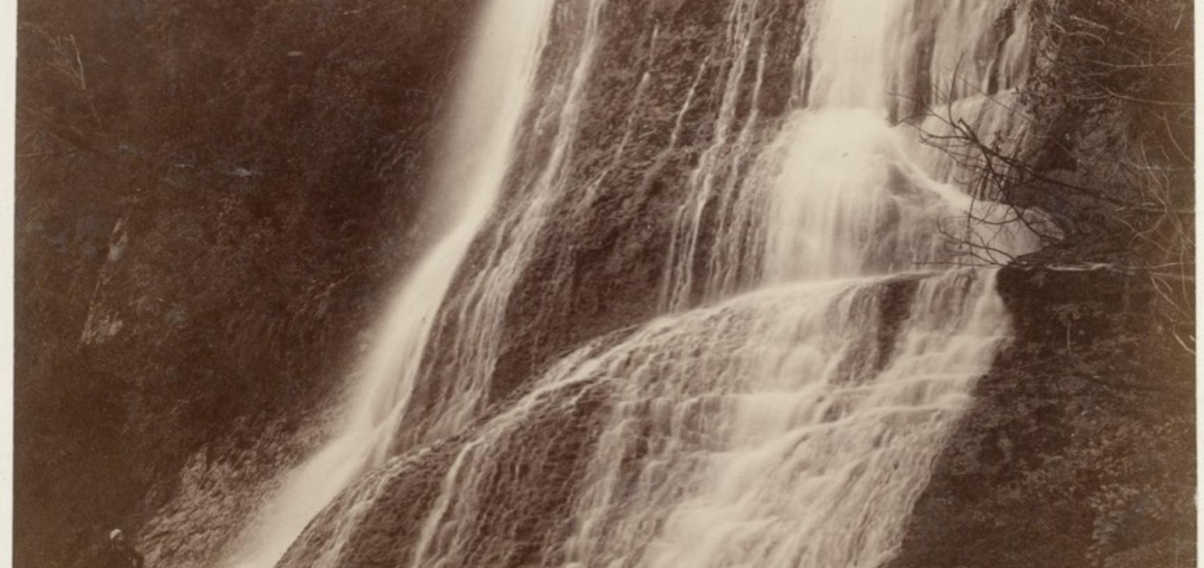 Paparoa Falls near Whenuatere on the Whanganui River. Photograph by Alfred Burton for the Burton Brothers studio (Dunedin). North Island, New Zealand. 18 May 1885. (Copyright Pitt Rivers Museum, University of Oxford. Accession Number: 1998.243.36.3)