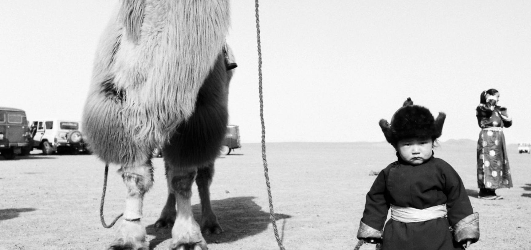Black and white photograph of a young child holding a camel