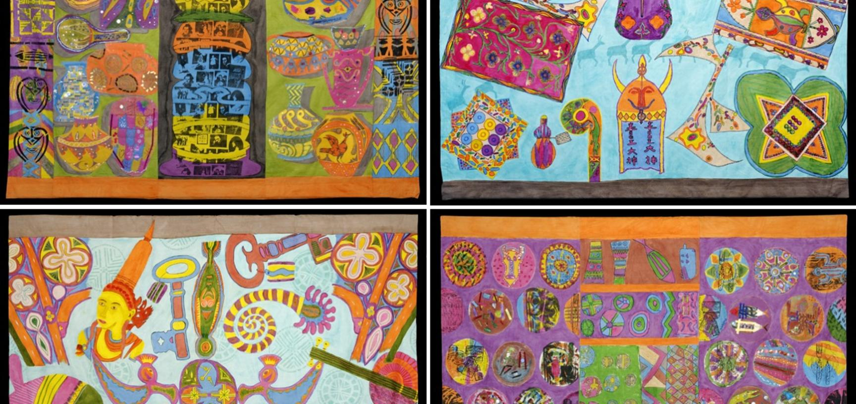 Our 'pop-up museum' tent travelled to festivals and shopping centres across the region. The tent was decorated in these textile panels made by members of art therapy groups tackling homelessness, learning difficulties and mental health.