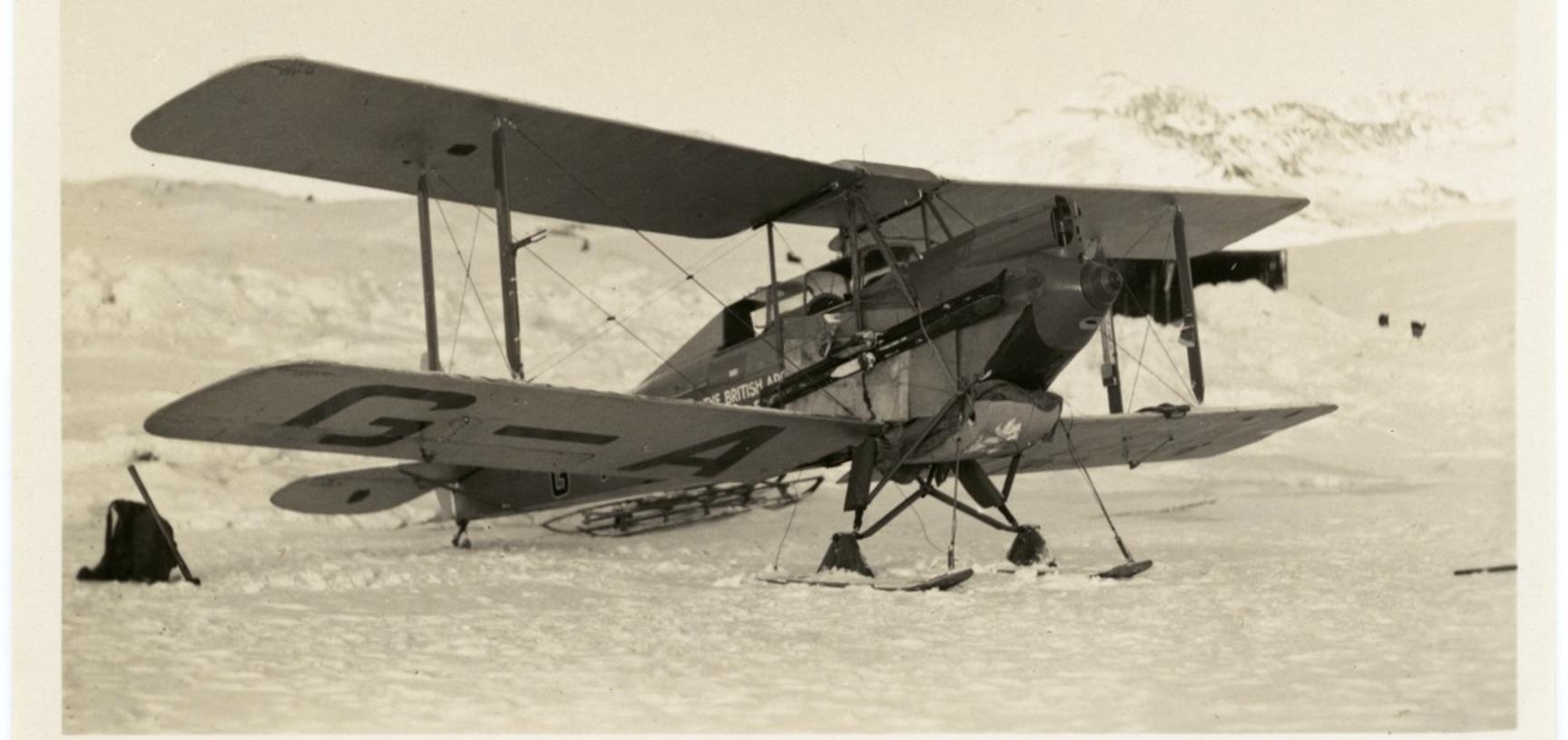 A small De Havilland Moth biplane, Greenland 1930–1931.