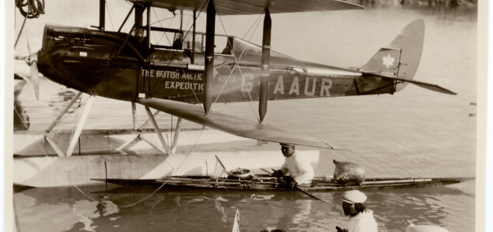 De Havilland Moth biplane, shown here with landing gear of water floats.