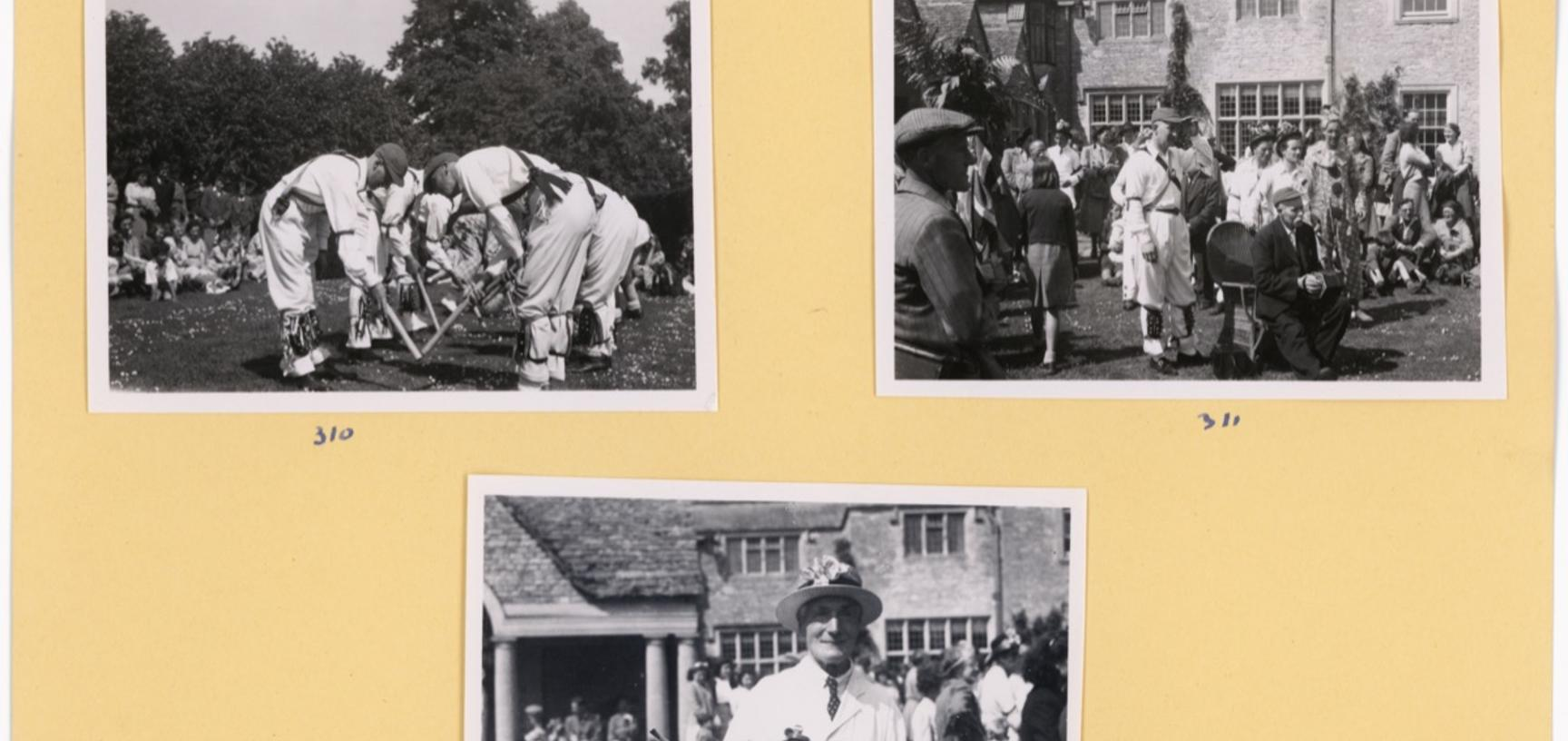 'The Morrisdancers at Bampton' (typed caption). Photographs by Ellen Ettlinger. Bampton, Oxfordshire, England. 1949.