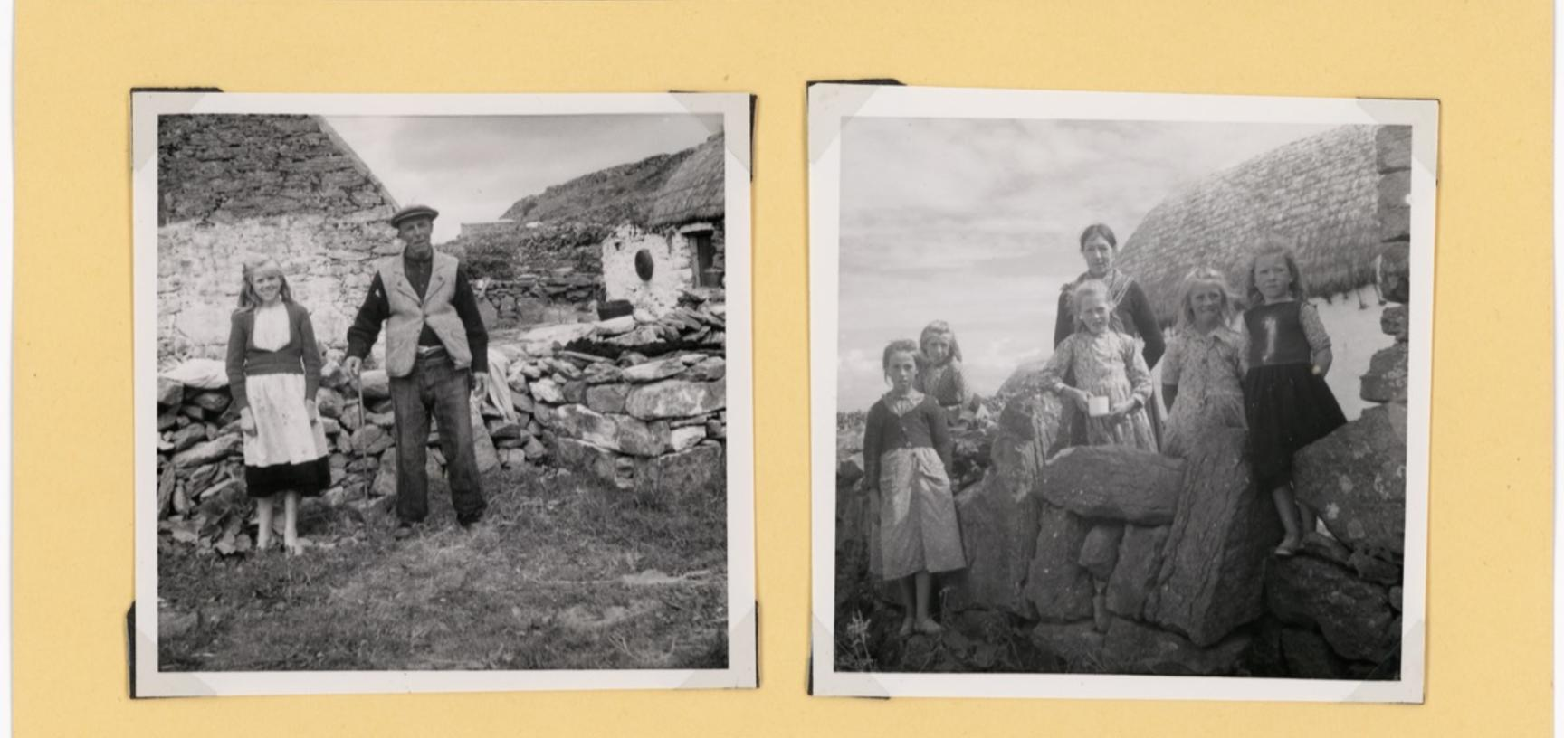 'Man wearing homespun tweed. Schoolteacher wearing flimsy colourful shawl' (typed caption). Photographs by Ingegärd Vallin. Aran Islands, County Galway, Ireland. 1949.