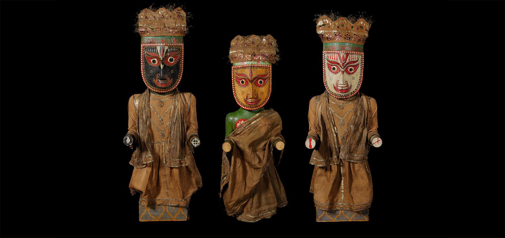 Jagannath (1894.28.1), Subhadra (1894.28.2) and Balabhadra (1894.28.3) after conservation
