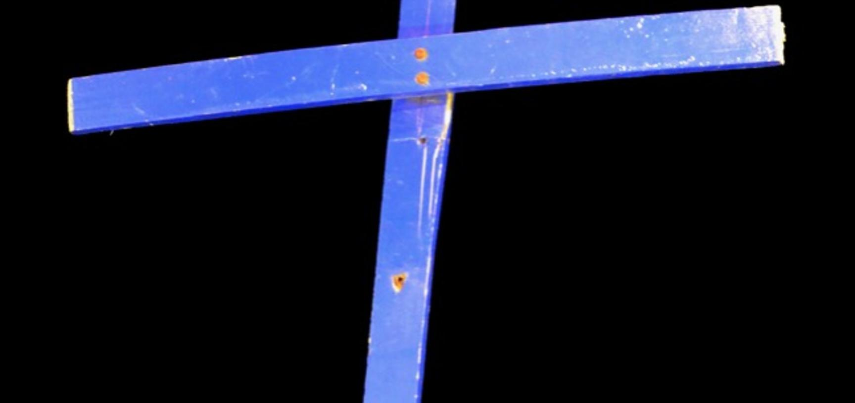The 'Calais Cross', salvaged from the Orthodox Church of St Michael at the 'Jungle', on loan from the Bishop of Bangor.