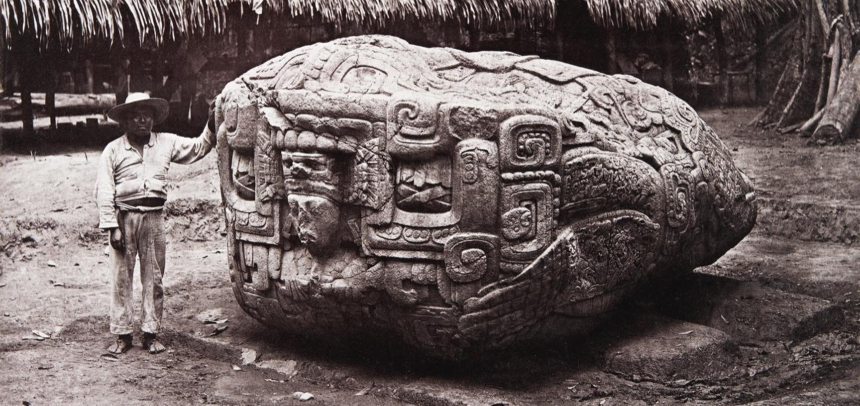 Zoomorph B (also known as Monument 2), south face, dated AD 780. Photograph by Alfred Maudslay. Quirigua, Guatemala. 1883.