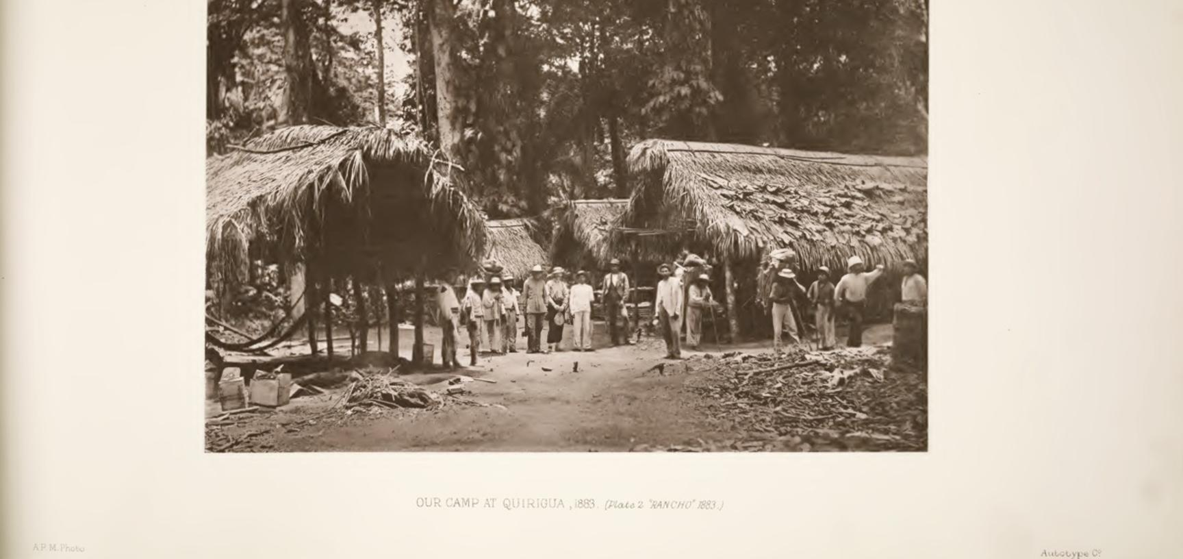 'Our Camp at Quirigua, 1883.' A photograph taken by Alfred Maudslay and reproduced in his multi-part Archaeology (1889–1902), part of a larger series known as the Biologia Centrali-Americana.