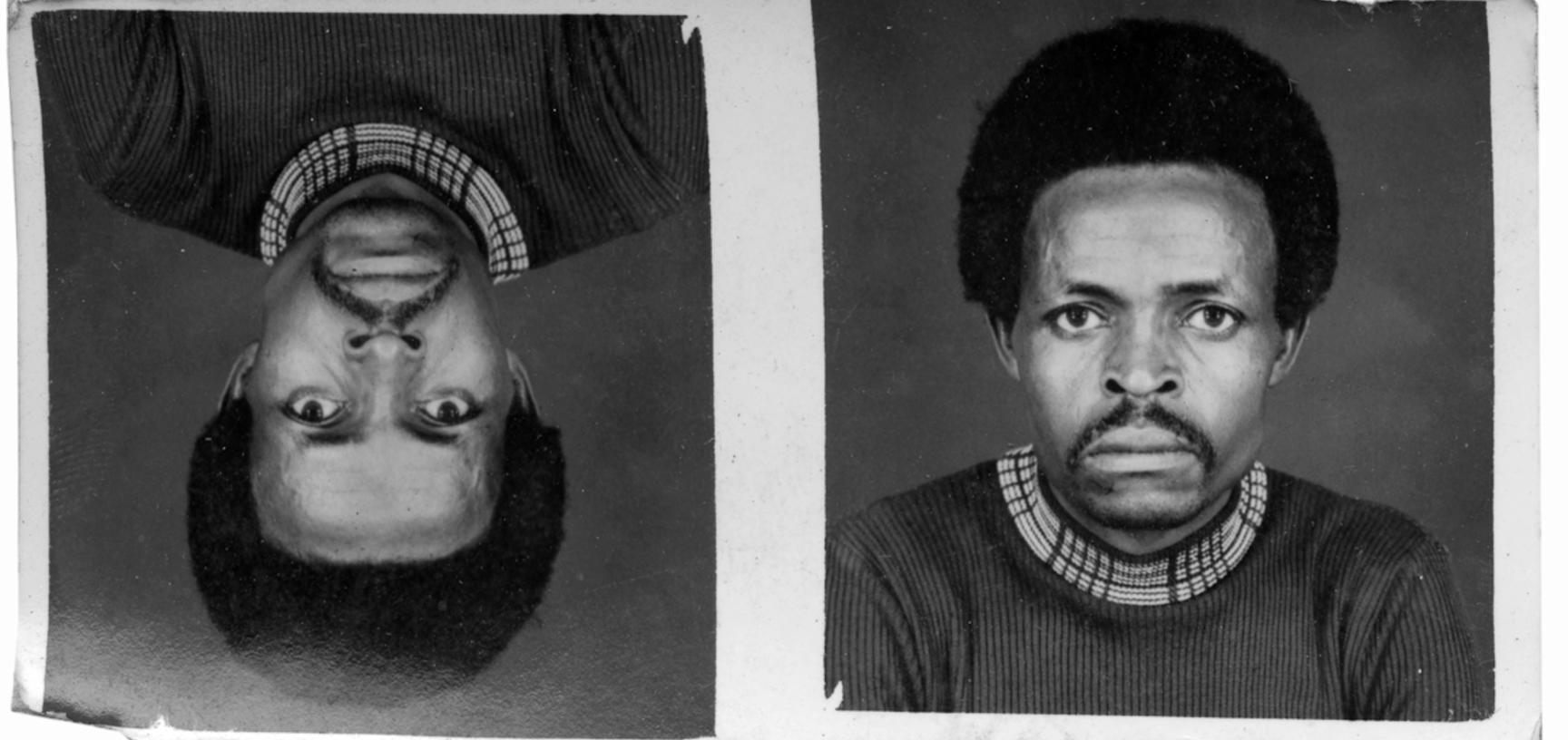 Example of Jacques Touselle's printing work: a pair of identity card portraits stamped with the studio's name and date on the reverse. Photograph by Jacques Touselle. Mbouda, Cameroon. 1985.
