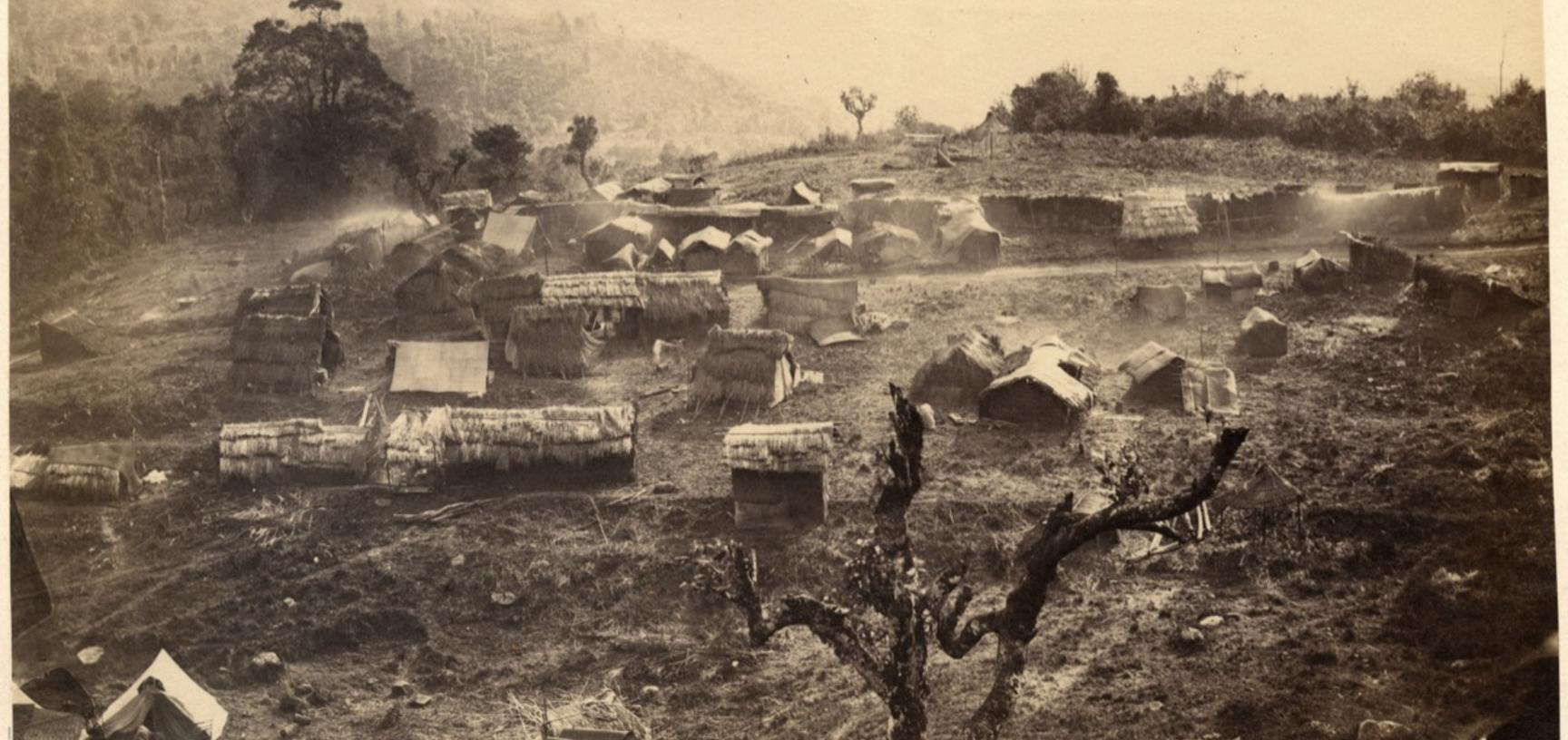 View of an unidentified Naga settlement on a hillside. Photographer unknown. Naga Hills District of Assam (now in Nagaland), India. 1873–1874. (Copyright Pitt Rivers Museum, University of Oxford. Accession Number: 1914.5.2.62)