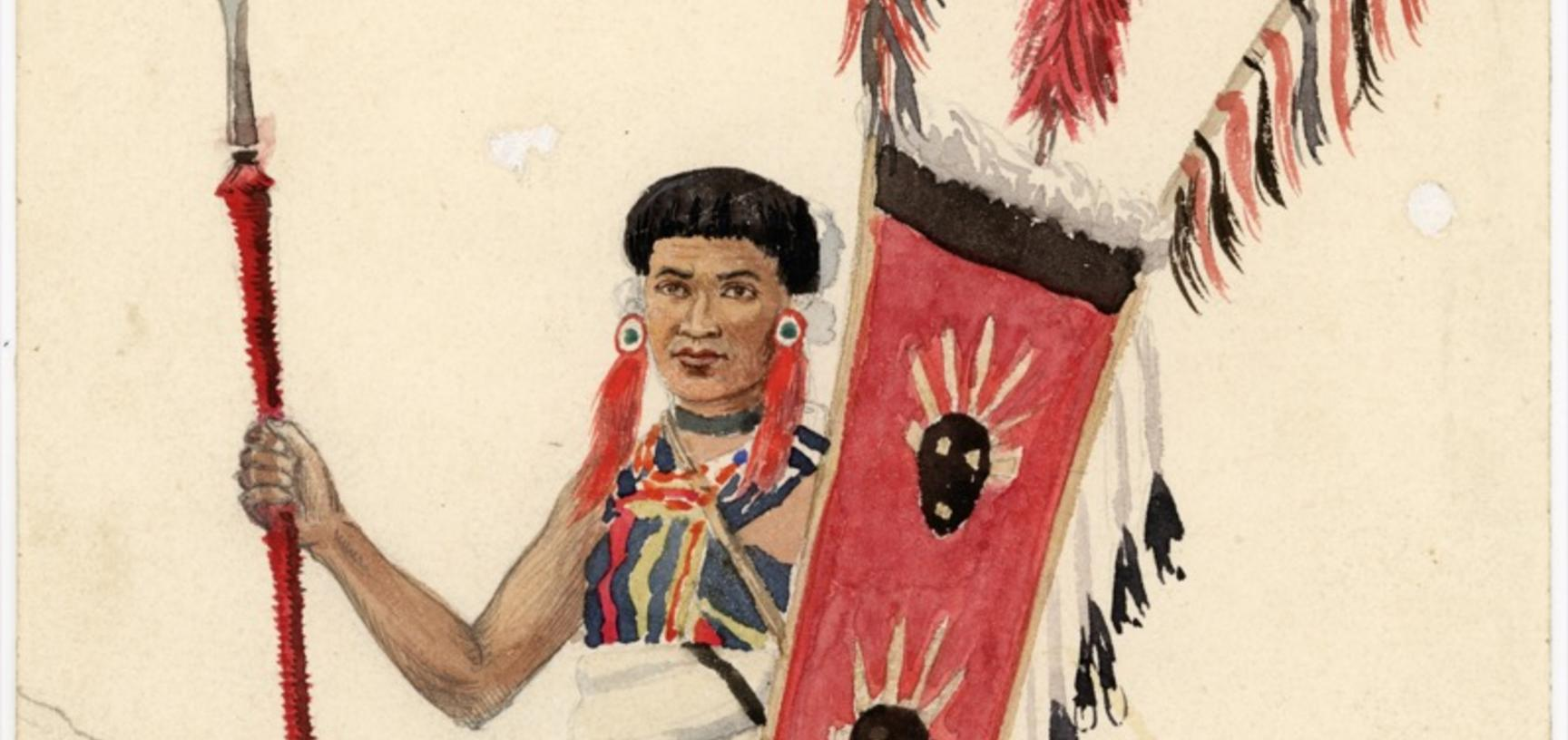 'Angami Naga' (handwritten caption). Portrait of an Angami Naga man named 'Dotsoll', depicted standing, holding two spears and a shield. Watercolour painting by Robert Gosset Woodthorpe. The original handwritten annotation by Woodthorpe indicates that the