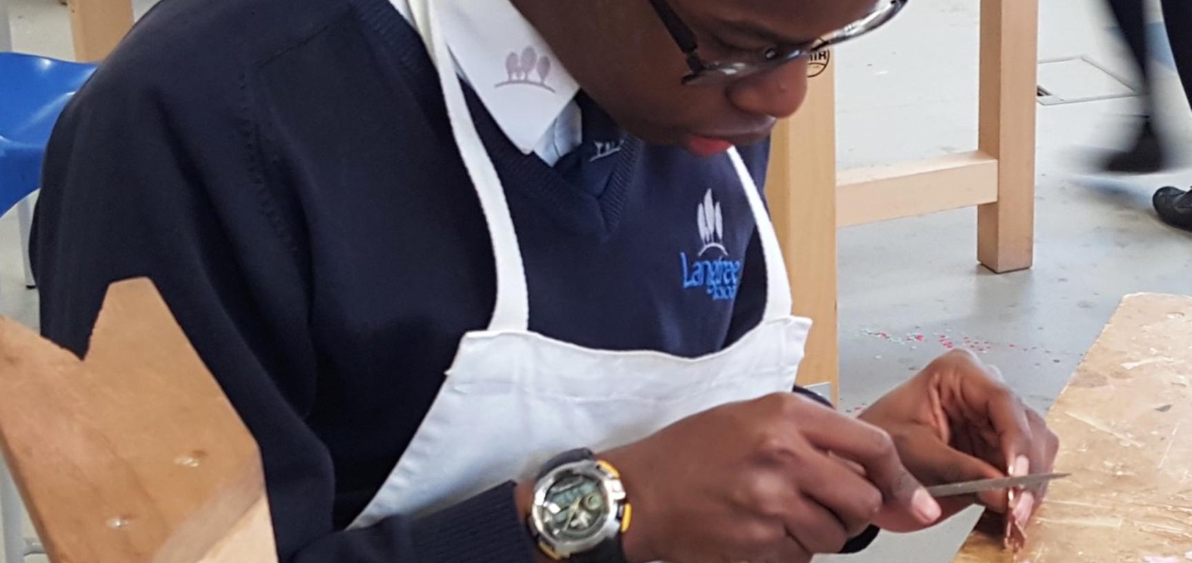 Student working on a teaspoon (Copyright Langtree School)