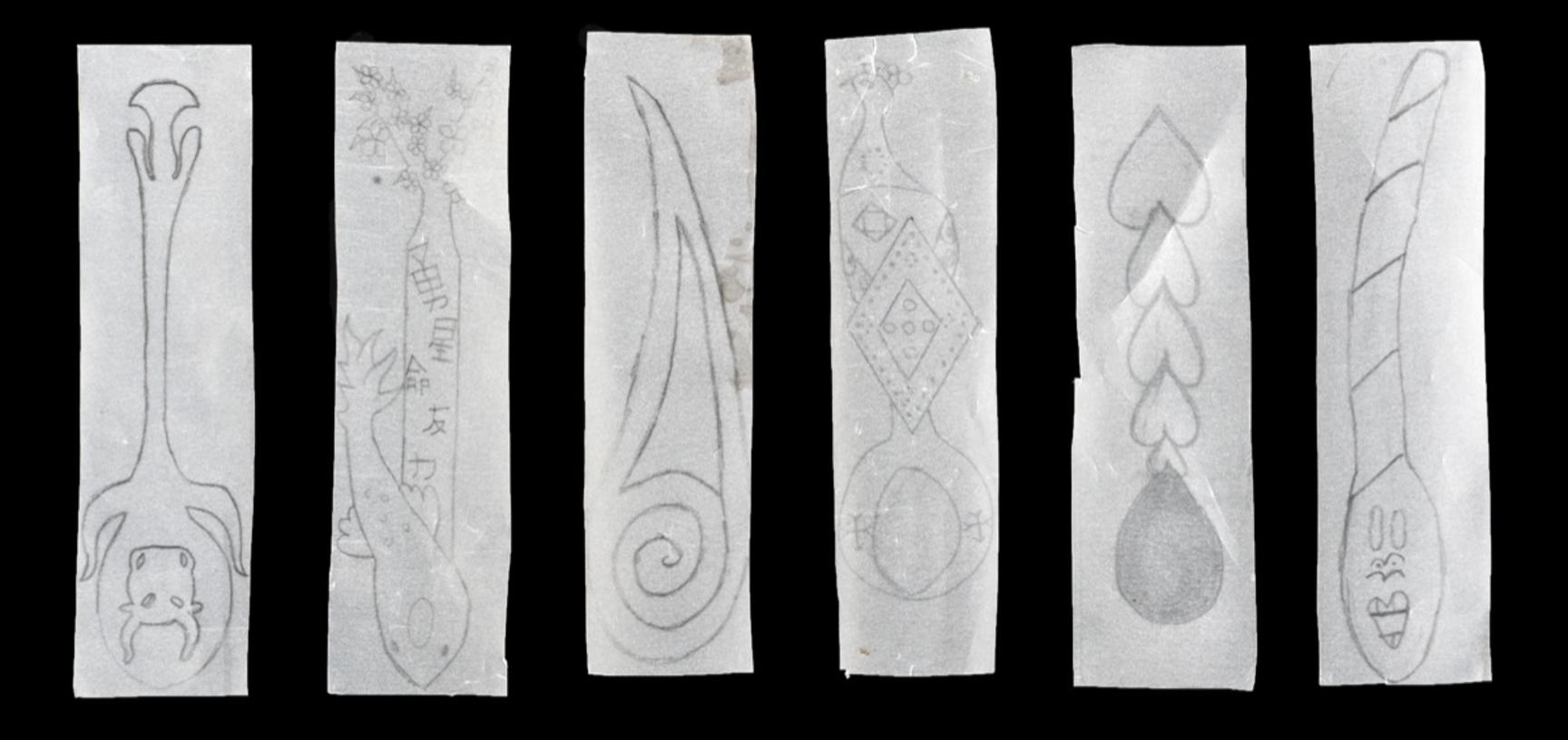 Drawings of different spoons