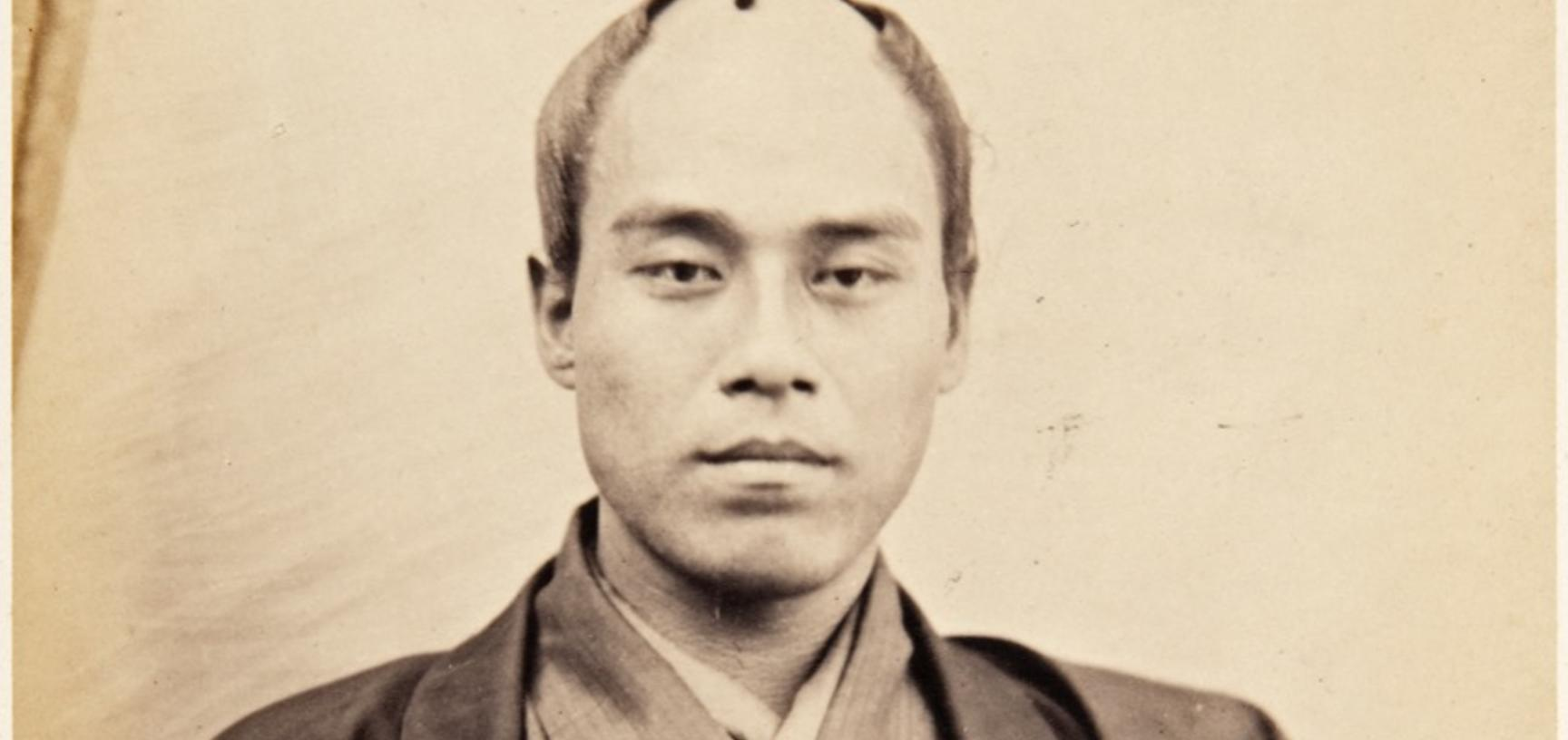 Portrait of Yukichi Fuzuzawa (1835–1901), officer on the 1862 Japanese mission to Europe, employed as an interpreter of Dutch and English. Fukuzawa's experience on the Takenouchi mission led to him becoming a firm advocate of greater engagement with the W