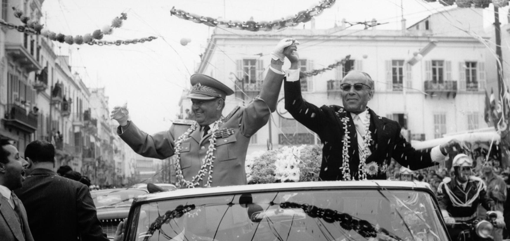 Tunisia, 1961. Presidents Tito and Bourguiba on the way from the harbour to the residence in Tunisia. (Copyright Museum of Yugoslavia, Belgrade)