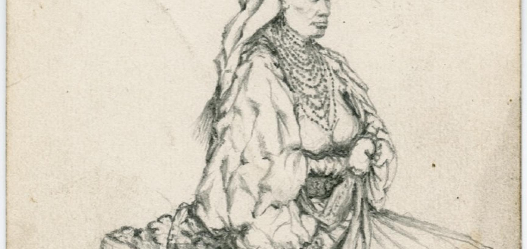 Pencil study of a woman, identified as a Croat woman seen in the market place of Zagreb, Croatia. Drawing by Arthur Evans. August 1875. (Copyright Pitt Rivers Museum, University of Oxford. Accession Number: 1941.8.179)