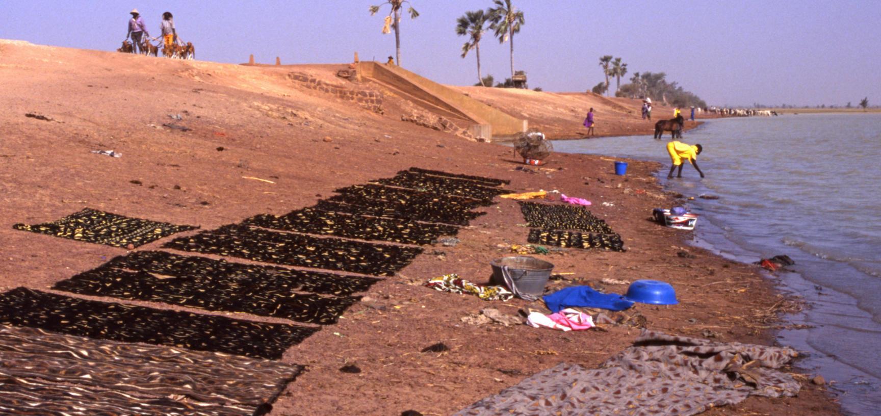 Dark cloths dry on a lakeshore
