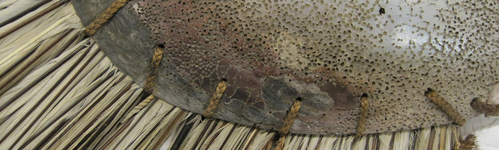 Detail of pearlshell and tropicbird feathers (1886.1.1673.3.1)