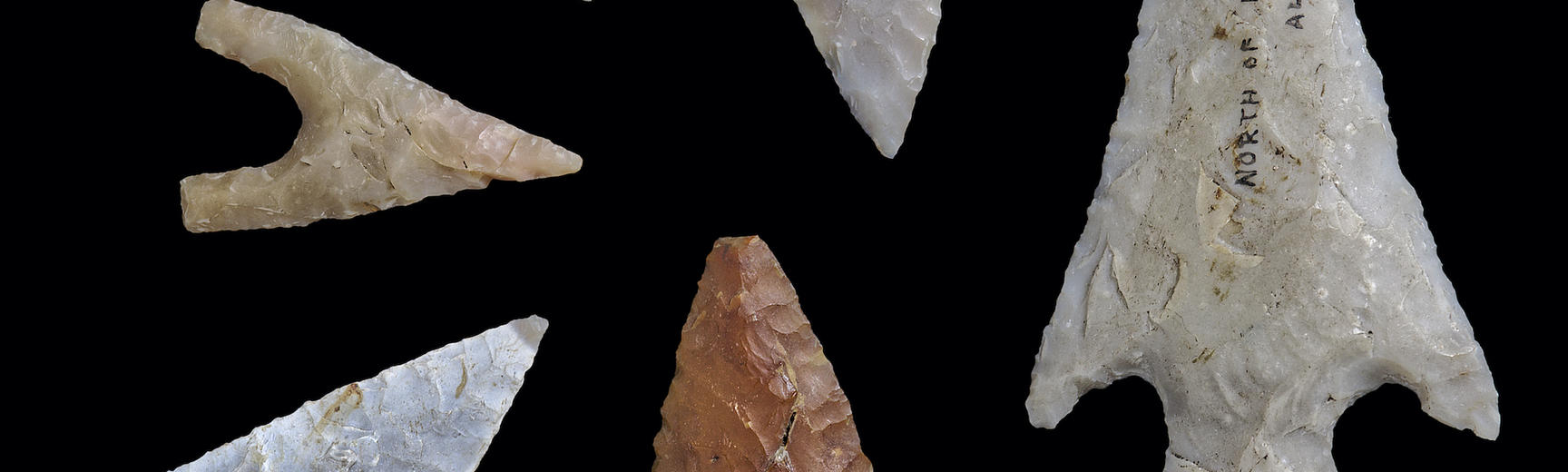 Six arrowheads in range of shapes from a leaf to a triangular point with a central projection at the base (tang) with smaller points (barbs) on either side.
