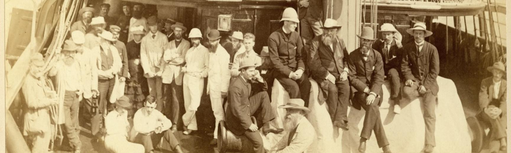 Passengers on board the deck of the S.S. Wairarapa, the Union Line steamship which in June and July 1884 made two voyages to the South Seas. Photograph by Alfred Burton for the Burton Brothers studio (Dunedin). June 1884. (Copyright Pitt Rivers Museum, Un