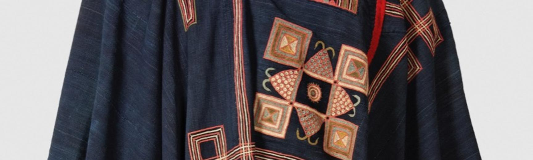 Embroidered cotton gown, kusaibi. Made in Liberia or a neighbouring area of Sierra Leone or Guinea before 1846.