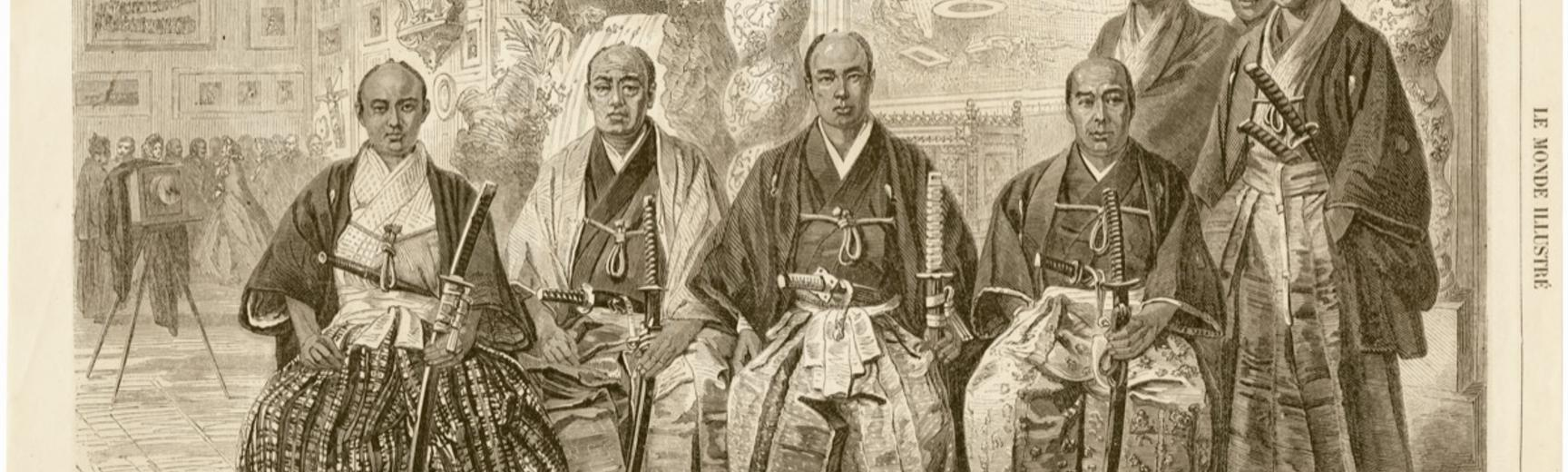 Members of the Takenouchi mission to Europe (1862), pictured wearing traditional dress and each carrying a daishō or pair of swords (katana and wakizashi). This engraving, published in Le Monde illustré, was based on photographs taken in the Paris studio