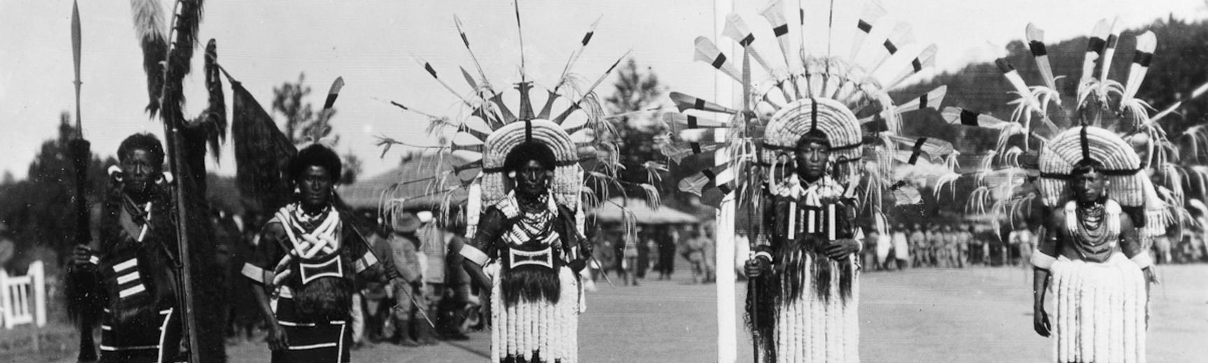 Group of ceremonially dressed Angami Nagas of Khonoma and Mozemi