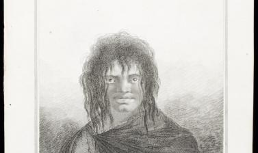 Yaghan man of Tierra del Fuego (name unknown), engraved for publication by James Basire after an original drawing by William Hodges.