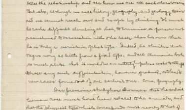 Essay written by Harley during undergraduate studies at Harvard University, from a course in Anthropology, Essay VI, titled 'Races of Mankind'. (Courtesy Michael Wortley)