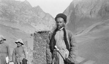 Man in the mountain village of Gornaya Saniba in the western Caucasus. Photograph by John Baddeley. Gornaya Saniba, Republic of North Ossetia-Alania, Russia. August 1902.