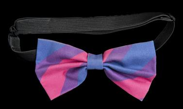 Purple, blue and pink bow attached to a choker-style necklace of elastic.