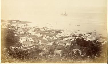 View of the former capital of Levuka on the Fijian island of Ovalau, 'taken from the hills above the Hospital', with the S.S. Wairarapa visible anchored off the coast in the distance. Photograph by Alfred Burton for the Burton Brothers studio (Dunedin). L