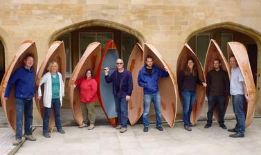 Nessmuk canoe workshop, 2014. These one-man, plywood canoes were put to the test on Oxford's canals. They were inspired by stitched canoes in the collections used by Algonquian-speaking peoples of north-eastern USA and Canada.
