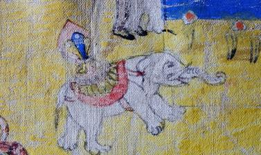 Detail from a thanka painting illustrating the story of Drimed Kunden. Photograph by Patrick Sutherland. Pin, Spiti, Himachal Pradesh, India. 2010.