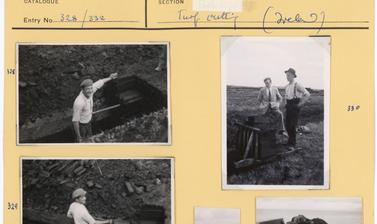 'Turf cutting at Ross, Ireland'; 'Turf – Transport on Aran Isles' (typed captions). Photographs by Ingegärd Vallin and Ellen Ettlinger. Ireland. 1949.