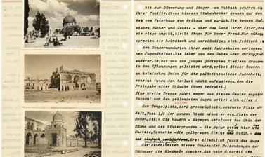 Facing pages from one of Ellen Ettlinger's typescript diaries, this entry of 23 March 1935 describing a visit to Jerusalem in the Holy Land.