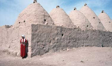 Woman wearing a long embroidered dress and plain headscarf, standing outside one of the interlinked domed houses unique to Harran in Anatolia. Photograph by Sheila Paine. Harran, Şanlıurfa, Turkey. 1992. (Copyright Pitt Rivers Museum, University of Oxford
