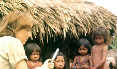 Audrey Butt Colson making tape recordings with the Wayana people of Amazonia, South America, in 1963. Photographer unknown. (Copyright Audrey Butt Colson)