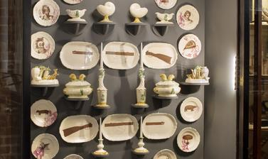'The Cook Service' by Matt Smith, display comprising part of his exhibition 'Losing Venus', Pitt Rivers Museum, University of Oxford, 4 March to 29 November 2020.