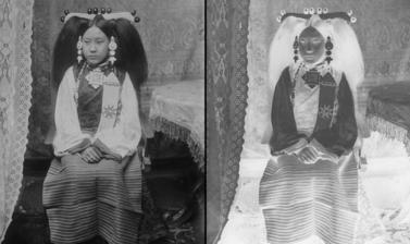 Wife of a lay official in Lhasa dress. Photograph by Rabden Lepcha. 1920–1921. (Copyright Pitt Rivers Museum, University of Oxford. Accession Number: 1998.285.134)