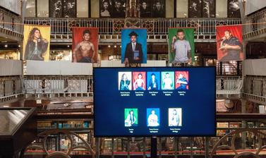 One of two digital display screens on the Lower Gallery's Clore Learning Balcony, part of the exhibition 'Performing Tibetan Identities: Photographic Portraits by Nyema Droma', Pitt Rivers Museum, University of Oxford, 13 October 2018 to 30 May 2019. (Cop