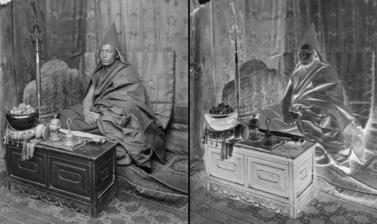 Gelukpa incarnation lama with his religious implements. Photograph by Rabden Lepcha. 1920–1921. (Copyright Pitt Rivers Museum, University of Oxford. Accession Number: 1998.285.223.1)