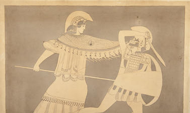 An armoured Amazon plunges a spear into a kneeling Greek solider.