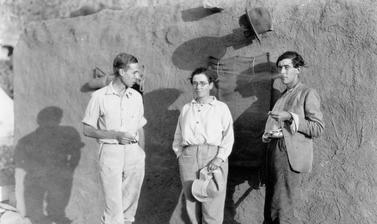 Theodore McCown, Dorothy Garrod and Francis Turville-Petre, part of the 'Wady Mughara' group leading excavations in 1931 at caves in the Carmel mountain range (Israel, Asia).