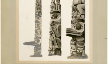 Contemporary print of Robinson's painting of Star House Pole. Photograph by Alfred Robinson. 1901. (Copyright Pitt Rivers Museum, University of Oxford. Accession Number: 1998.267.269.2)